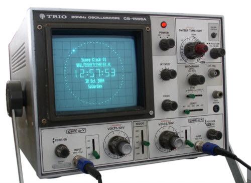 Old Oscilloscope Screen : Oscilloscope clock